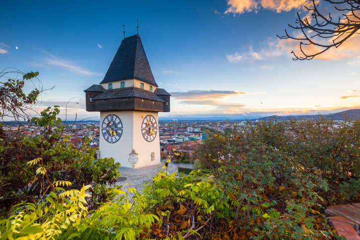 Graz clock tower at sunset