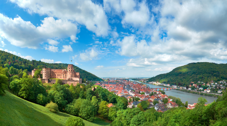 Heidelberg town in Germany and ruins of Heidelberg Castle Heidelberger Schloss in Spring panoramic image