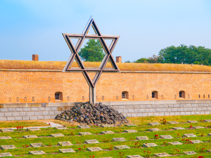 Jewish symbol Star of David at memorial cemetery at Little Fortress of Terezin aka Theresienstadt Czech Republic