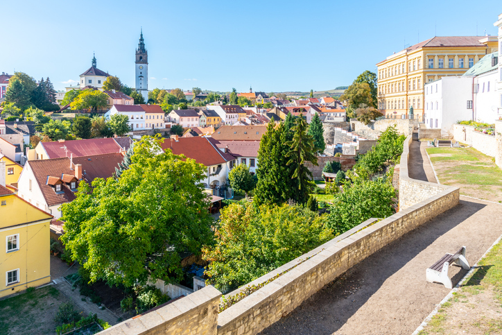 Litomerice cityscape with baroque St Stephens Cathedral and bell tower Litomerice Czech Republic View from fortification walls and baileys