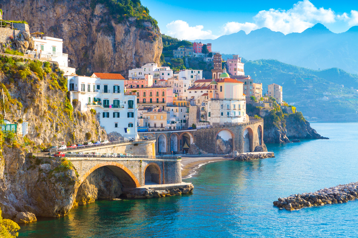 Morning view of Amalfi cityscape on coast line of mediterranean sea