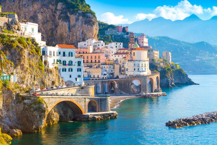 Morning view of Amalfi cityscape on coast line of mediterranean sea
