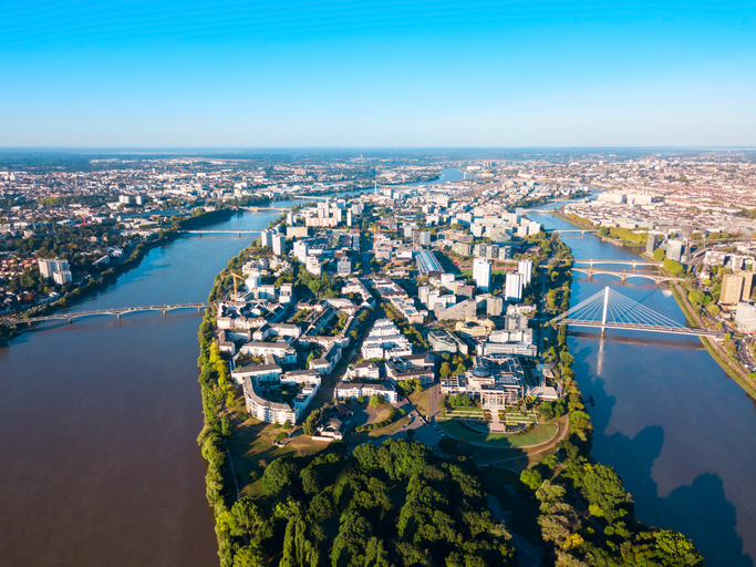 Nantes aerial panoramic view France