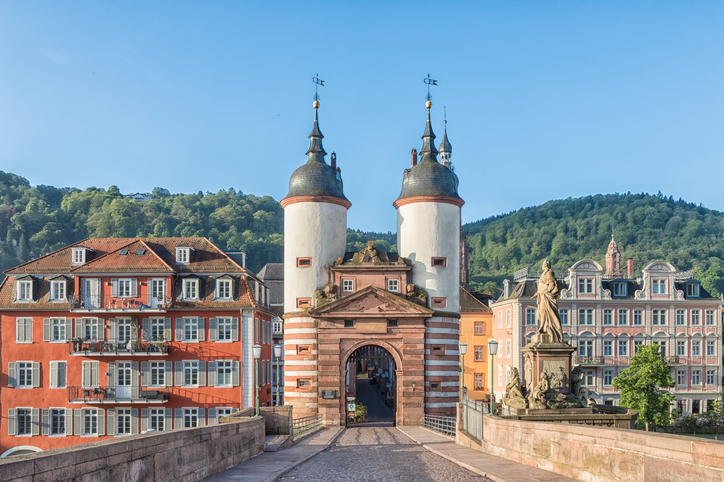 Old Bridge Gate on Karl Theodor Bridge in Heidelberg Baden Wurttemberg Germany