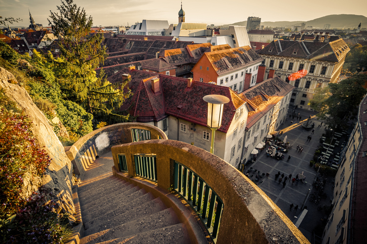 Steps on Uhrturm in Graz and view of the city