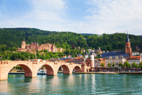 Beautiful view of Alte Brucke bridge castle and Neckar river in Heidelberg during summer sunny day Germany