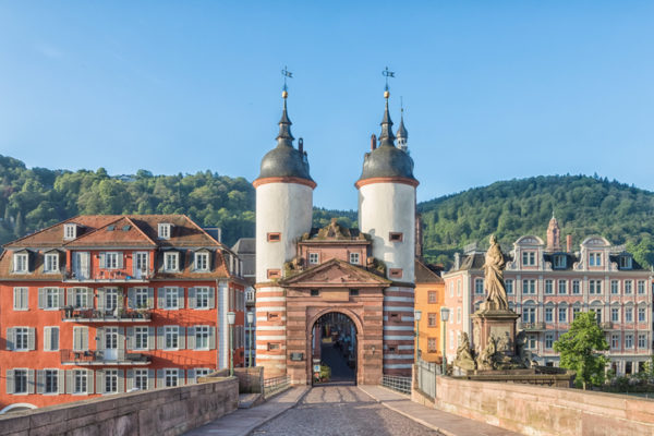 Old Bridge Gate on Karl Theodor Bridge in Heidelberg Baden Wurttemberg Germany