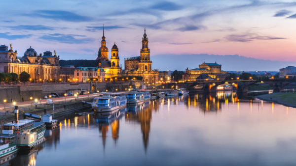 Scenic summer view of the Old Town architecture with Elbe river embankment in Dresden
