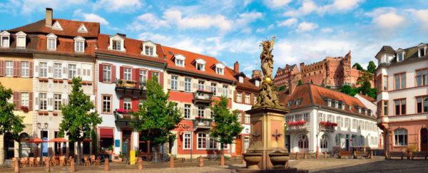 The Kornmarkt Square in Heidelberg Germany daytime panorama