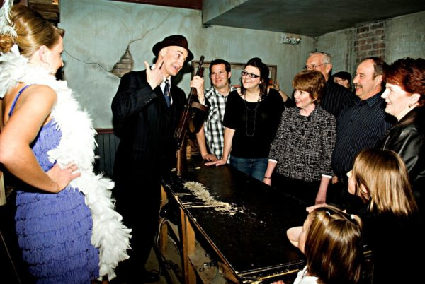 Tunnels of Moose Jaw Gus Fanny guests in Gun Room