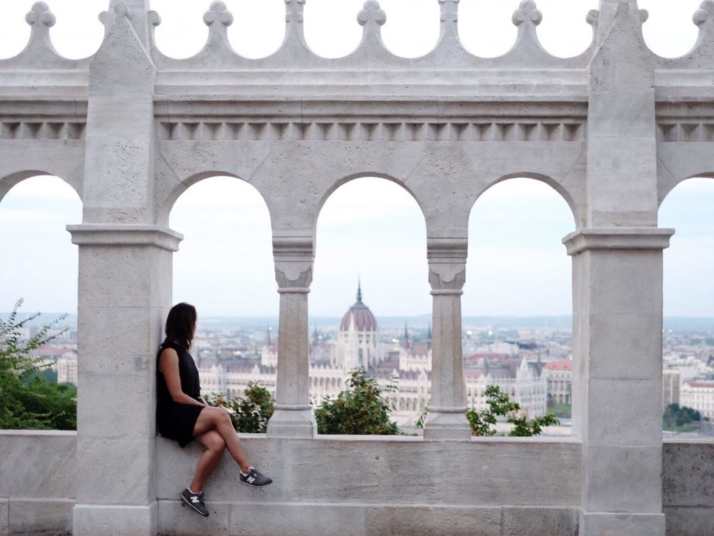 Tourist Enjoying Budapest Top View